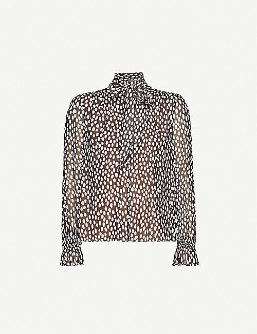 ME AND EM Large Dot-print crepe blouse