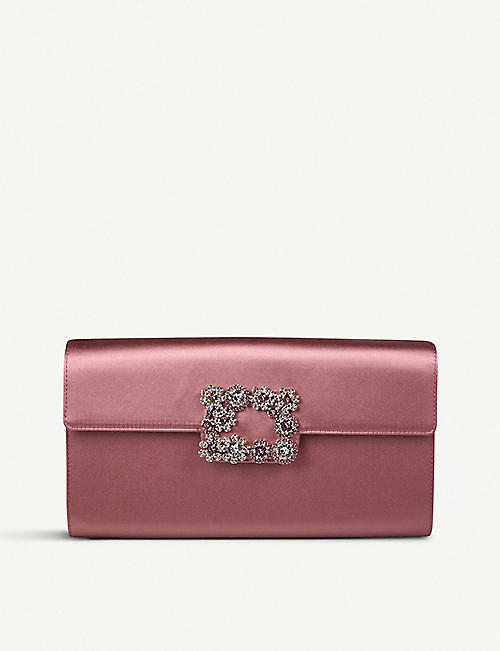 ROGER VIVIER Envelope Flowers silk-satin clutch bag
