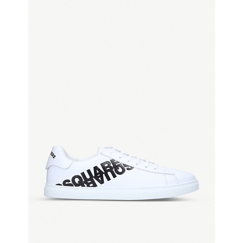 Dsquared2 Men's Shoes Leather Trainers Sneakers Tennis In White/blk