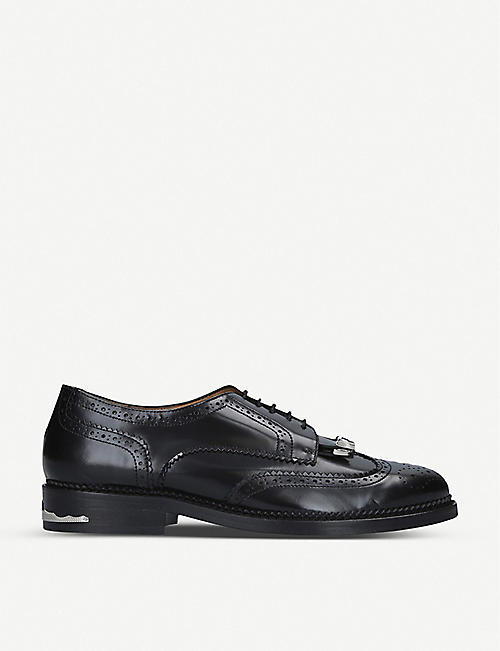 TOGA: Polido fringed leather derby shoes