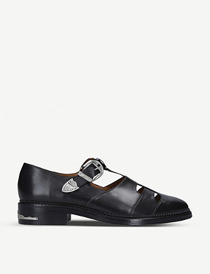TOGA Dolly buckled T-bar cut-out leather Derby shoes