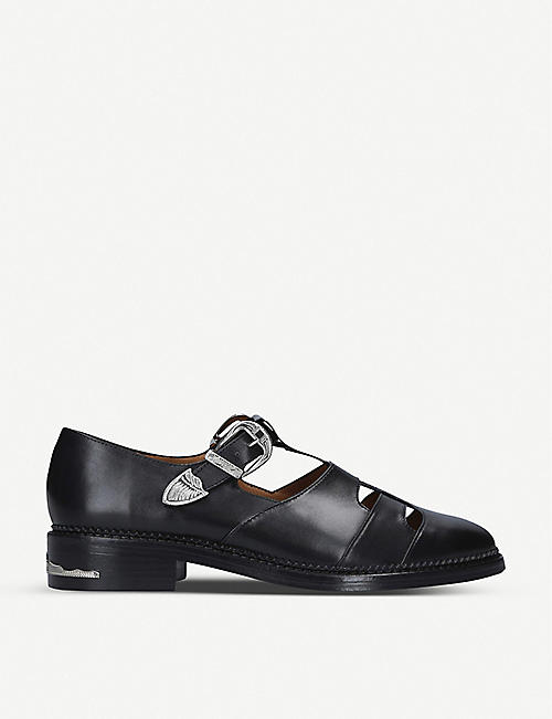 TOGA: Dolly buckled T-bar cut-out leather Derby shoes