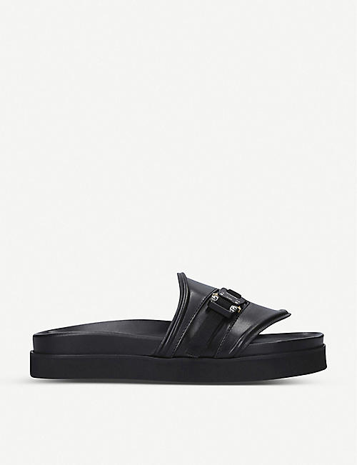 ALYX: Buckle-embellished leather sliders