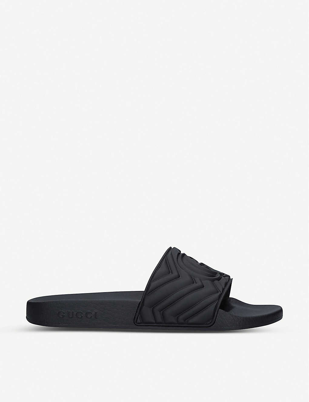 GUCCI: Pursuit logo-embossed rubber sliders