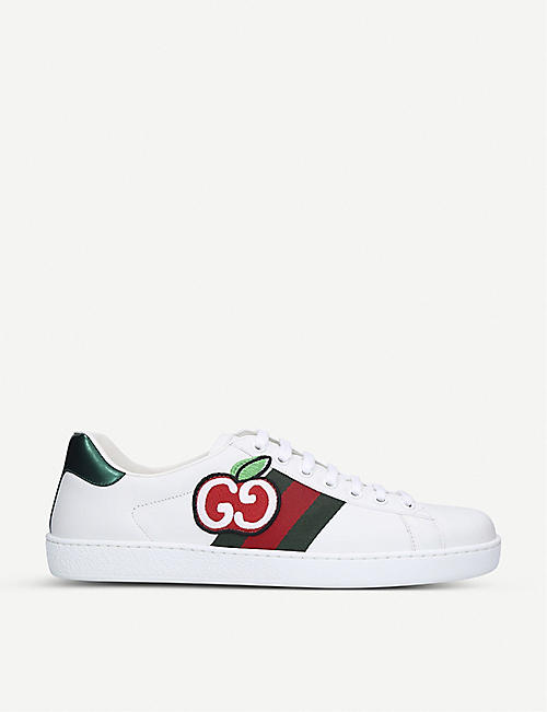 GUCCI: New Ace logo-patch leather trainers