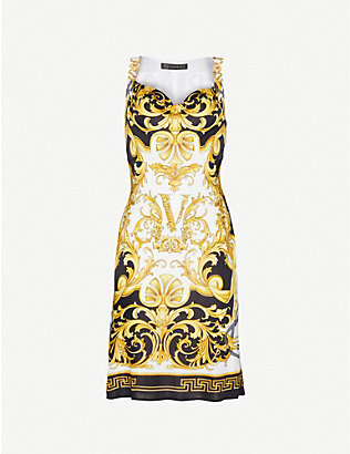VERSACE: Barocco-print stretch-woven mini dress