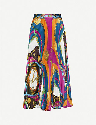 VERSACE: Barocco-print high-waist pleated woven skirt