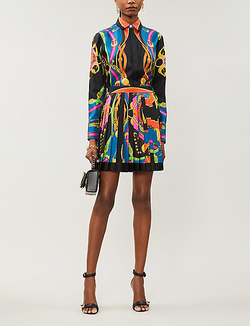 VERSACE Graphic-print loose-fit silk-twill shirt
