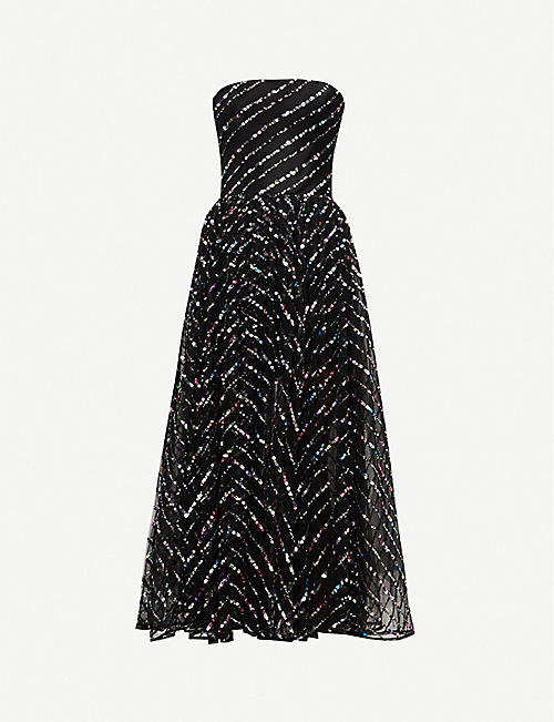 RASARIO: Sleeveless sheer-sequin maxi dress