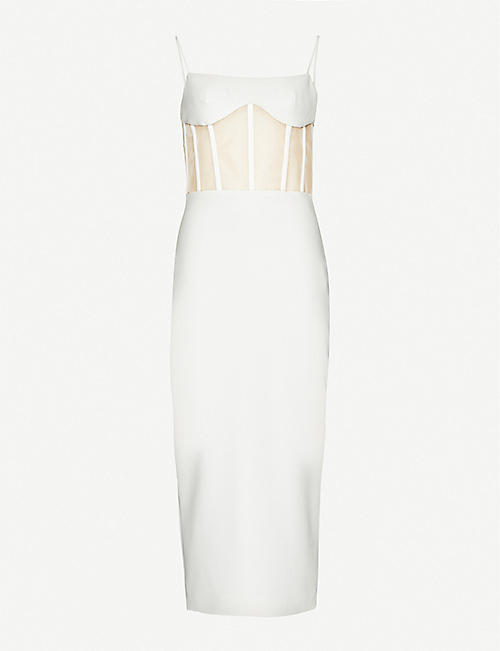 RASARIO: Boned-detail crepe midi dress
