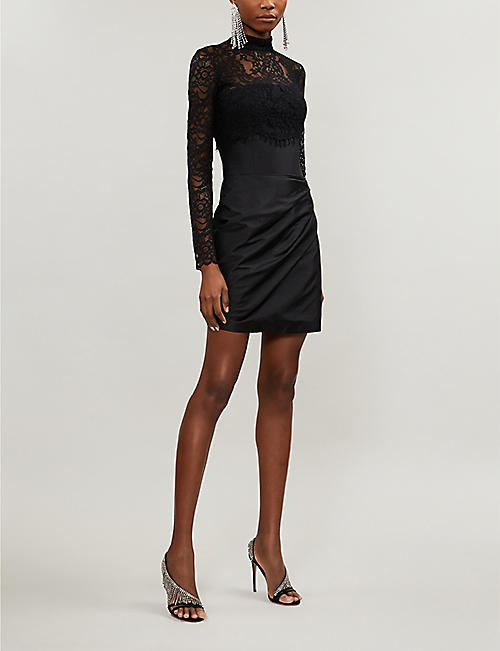 RASARIO High-neck floral lace-embroidered satin mini dress