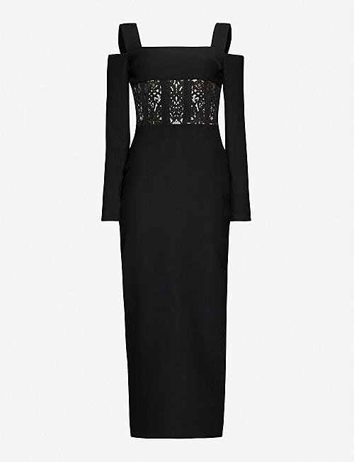 RASARIO: Cold-shoulder floral-lace embroidered crepe midi dress