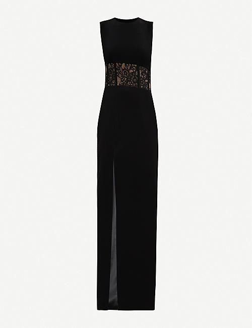 RASARIO: Strapless lace-insert crepe gown