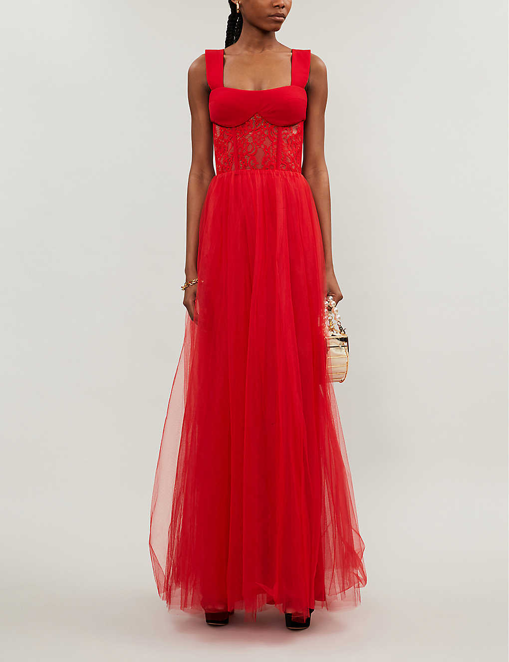 RASARIO: Sweetheart-neckline tulle and lace gown