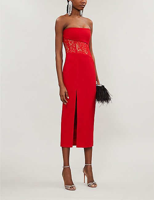 RASARIO Strapless lace-insert crepe midi dress