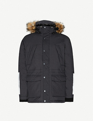 SCHOTT Faux-fur and shell hooded jacket