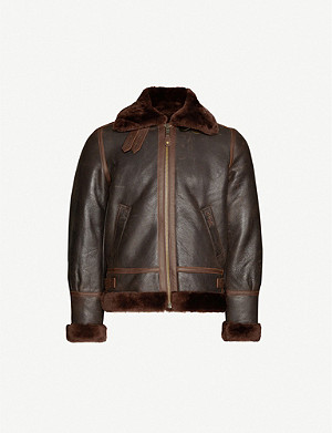 SCHOTT Buckle-collar sheepskin leather aviator jacket