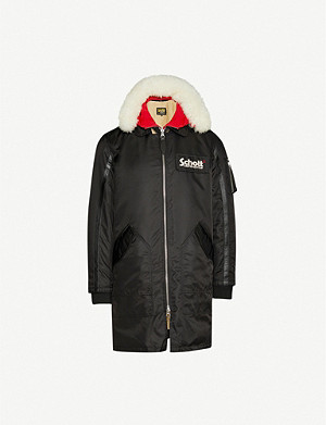 SCHOTT Hooded longline shell bomber jacket