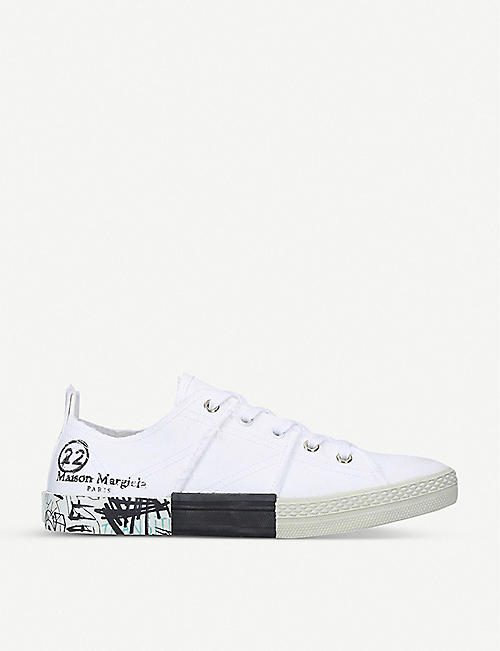 MAISON MARGIELA: Graffiti canvas low-top trainers