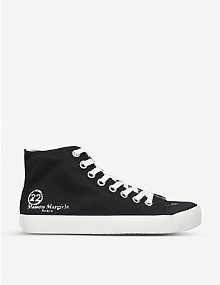 MAISON MARGIELA: Tabi cleft-toe canvas high-top trainers