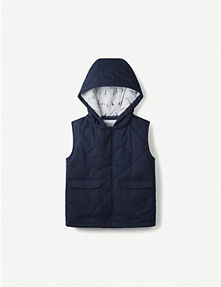 THE LITTLE WHITE COMPANY: Safari-print hooded cotton gilet 1-6 years