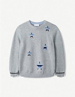 THE LITTLE WHITE COMPANY: Star Intarsia cotton jumper 1-6 years