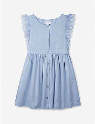 THE LITTLE WHITE COMPANY: Embroidered scallop-trimmed chambray dress 1-6 years