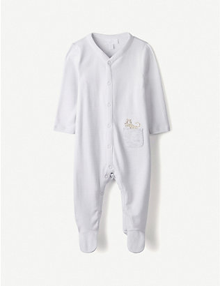THE LITTLE WHITE COMPANY: Cheetah embroidered pocket sleepsuit 0-24 months