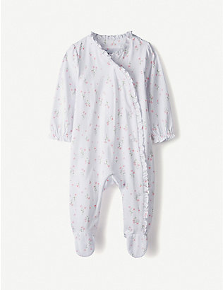THE LITTLE WHITE COMPANY: Posy floral frill cotton sleepsuit 0-24 months