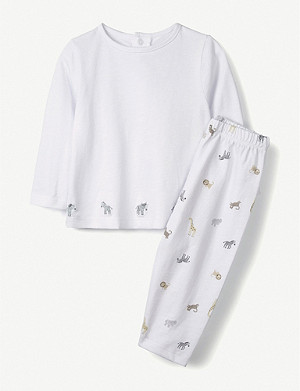 THE LITTLE WHITE COMPANY Zebra print cotton pyjamas 0-24 months