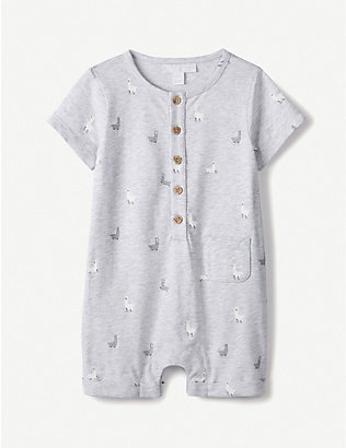 THE LITTLE WHITE COMPANY: Llama-print cotton-jersey romper 0-24 months