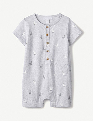 THE LITTLE WHITE COMPANY Llama-print cotton-jersey romper 0-24 months