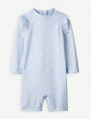 THE LITTLE WHITE COMPANY: Polka dot surf suit 0-24 months