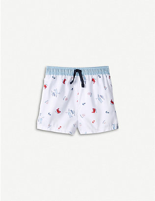 THE LITTLE WHITE COMPANY: Graphic-print swim shorts 0-24 months