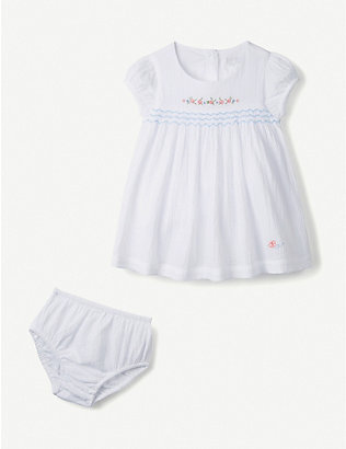 THE LITTLE WHITE COMPANY: Flower-embroidered cotton dress 0-24 months