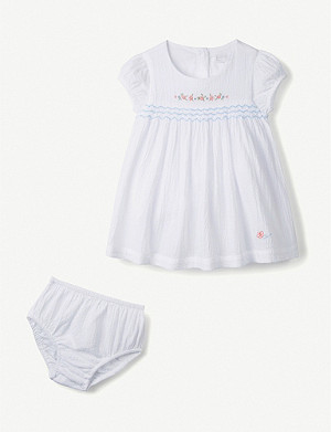 THE LITTLE WHITE COMPANY Flower-embroidered cotton dress 0-24 months
