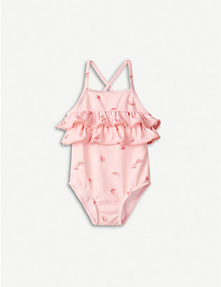 THE LITTLE WHITE COMPANY: Watermelon-print ruffled swimsuit 0-24 months