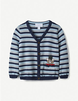 THE LITTLE WHITE COMPANY: Arthur Bear striped cotton cardigan 0-24 months