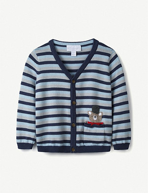 THE LITTLE WHITE COMPANY Arthur Bear striped cotton cardigan 0-24 months