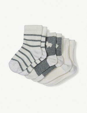 THE LITTLE WHITE COMPANY Pack of three Llama cotton-blend ankle socks 0-24 months