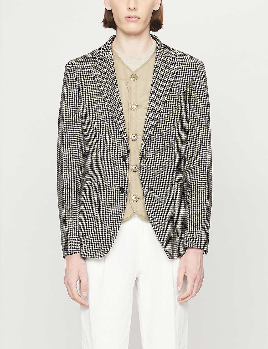 REISS: Pinot houndstooth stretch-woven blazer