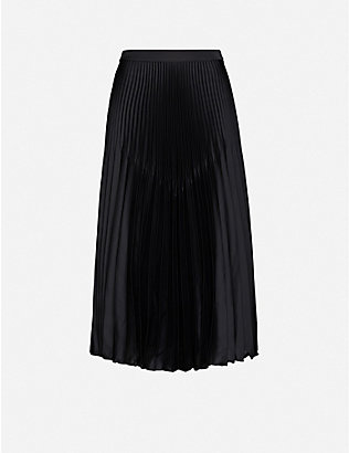 REISS: Dora pleated crepe midi skirt
