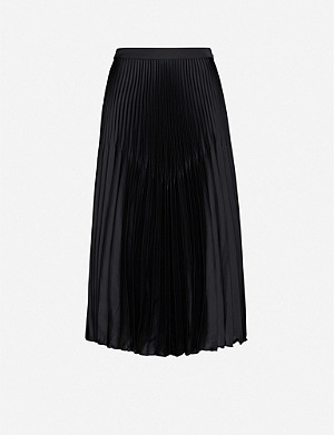 REISS Dora pleated crepe midi skirt