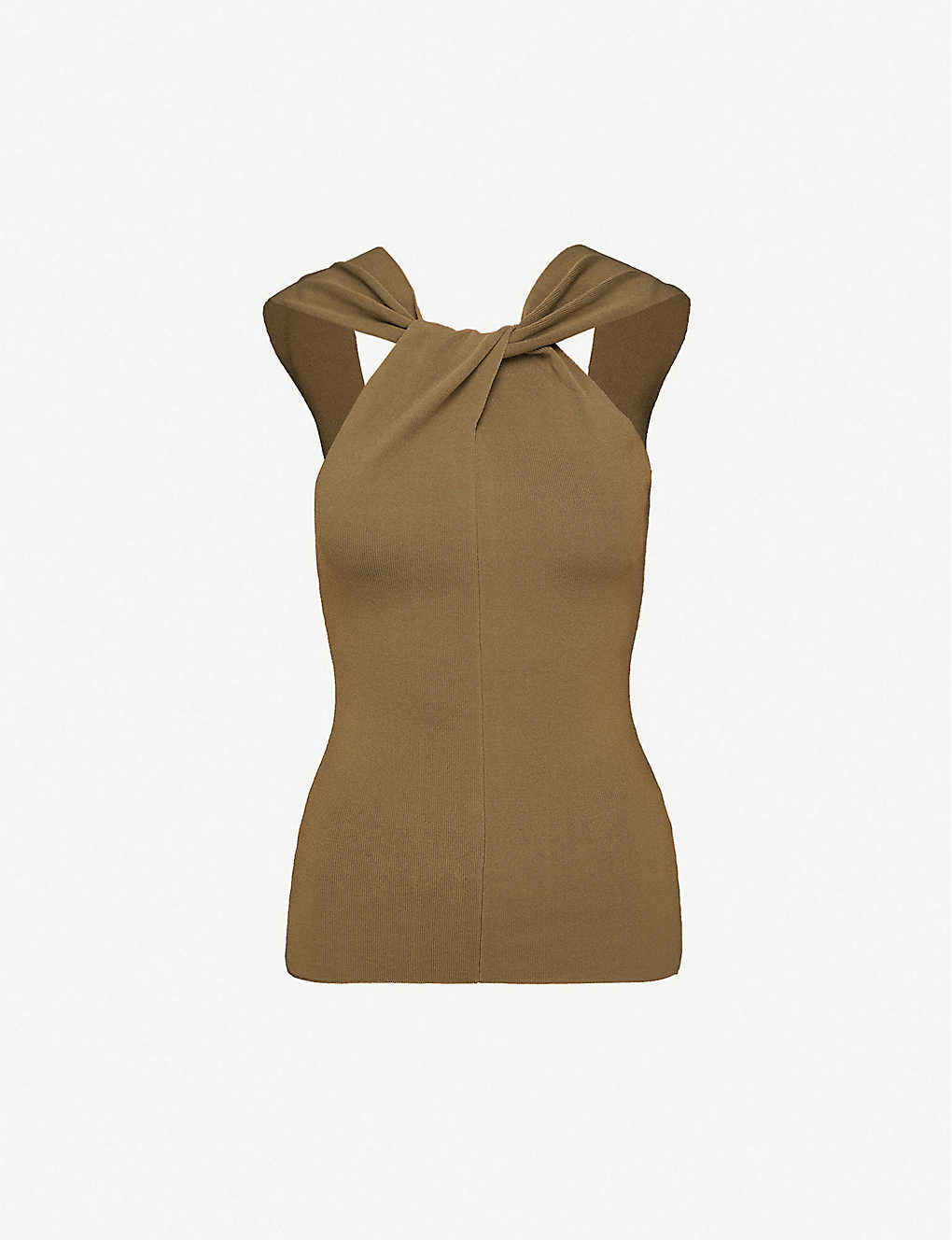 REISS: Brooke twisted-neckline stretch-woven top