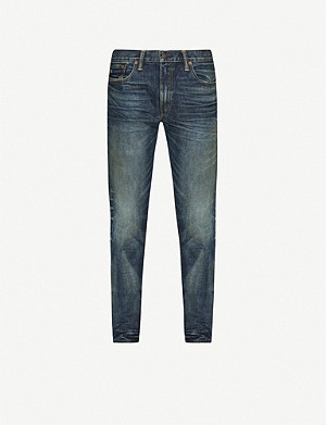 RRL Faded-wash straight stretch-jeans