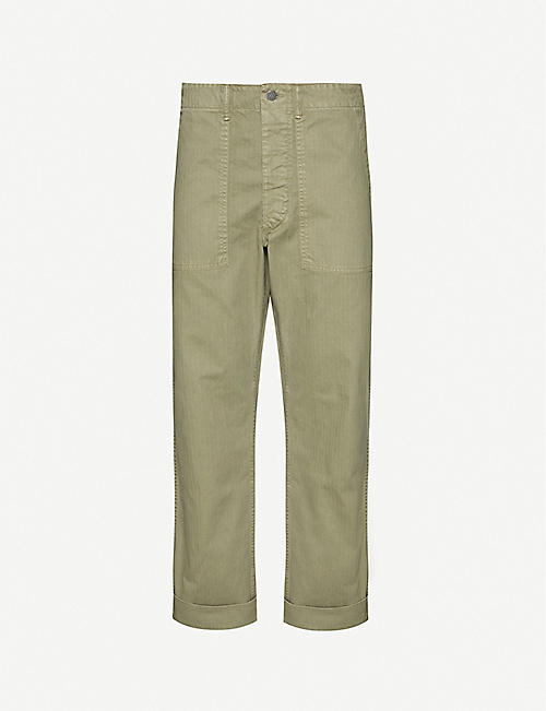 RRL Utility straight cotton-twill trousers
