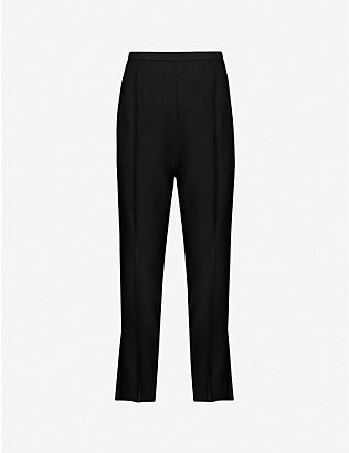 KHAITE: Bridget tapered high-rise satin-twill trousers