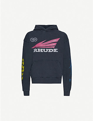 RHUDE: Graphic-print cotton-jersey hoody