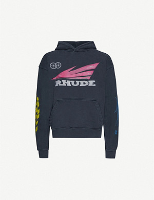 RHUDE Graphic-print cotton-jersey hoody