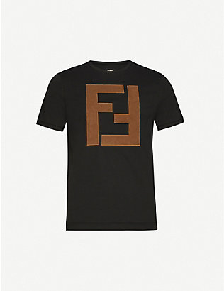 FENDI: Logo-applique cotton-jersey T-shirt